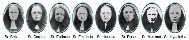 The first Poor Handmaids sent to America: Sr.'s Bella, Corona, Eudoxia, Fecunda, Henrica, Matrona, and Hyacintha.